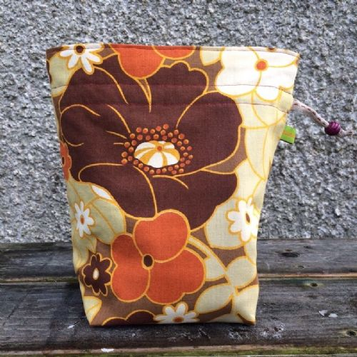 Vintage Fabric Knitting Bag - Oriental Poppy